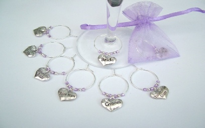 Personalised Wine Glass Charms and Wedding Favours